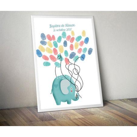 Affiche à empreintes Elephant pour baptême ou mariage La chouette mauve Livraison rapide Fabrication en France