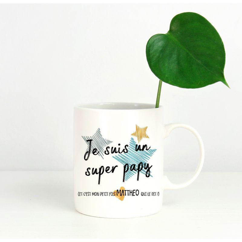 Mug personnalisable recto Super papy La chouette mauve Livraison rapide Fabrication en France