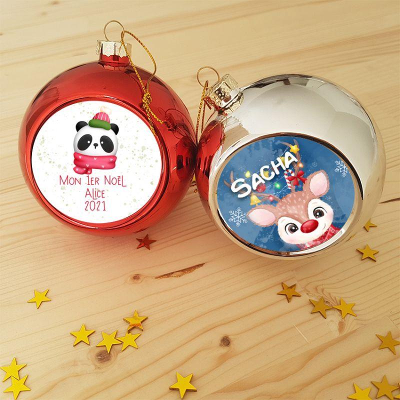 Boule de Noël personnalisée à accrocher au sapin - 6 modèles|La chouette mauve|Livraison rapide|Fabrication en France