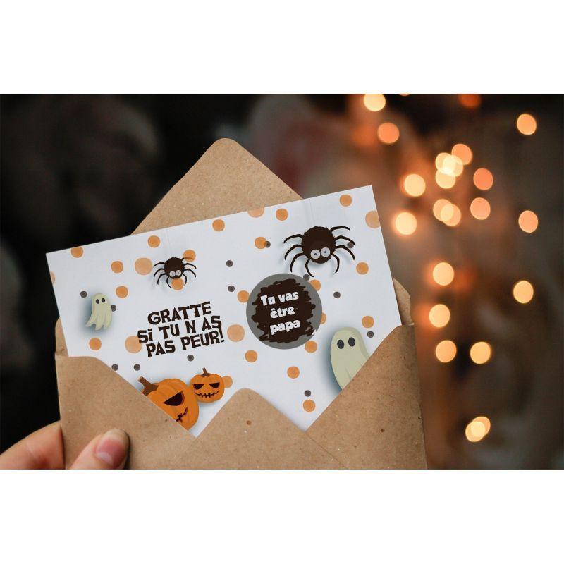 Carte à gratter personnalisable surprise personnalisée, Halloween|La chouette mauve|Livraison rapide|Fabrication en France