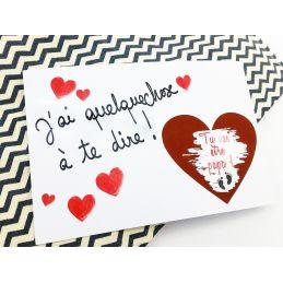 Carte à gratter personnalisable Coeur rouge
