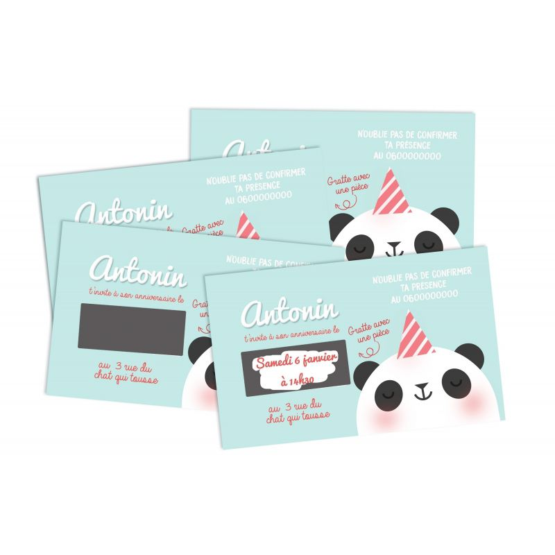 Cartons d'anniversaire personnalisés à gratter Panda La chouette mauve Livraison rapide Fabrication en France