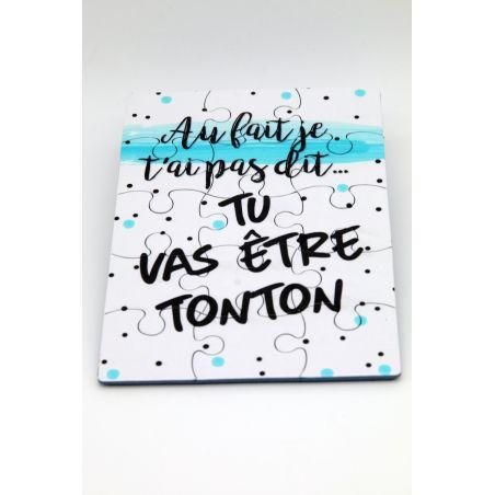 Puzzle Tu vas être Tonton annonce surprise originale La chouette mauve Livraison rapide Fabrication en France