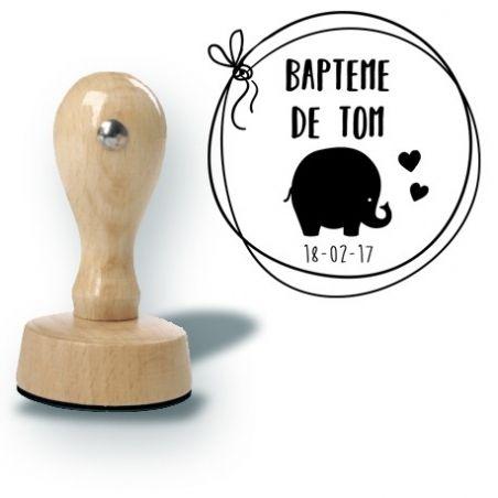 Tampon personnalisé pour baptême - Elephant|La chouette mauve|Livraison rapide|Fabrication en France