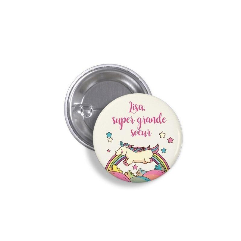 badges badges a offrir badge licorne super grande soeur avec pr nom. Black Bedroom Furniture Sets. Home Design Ideas