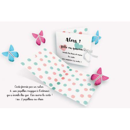 Papillon volant avec carte pour faire découvrir le sexe de bébé !|La chouette mauve|Livraison rapide|Fabrication en France