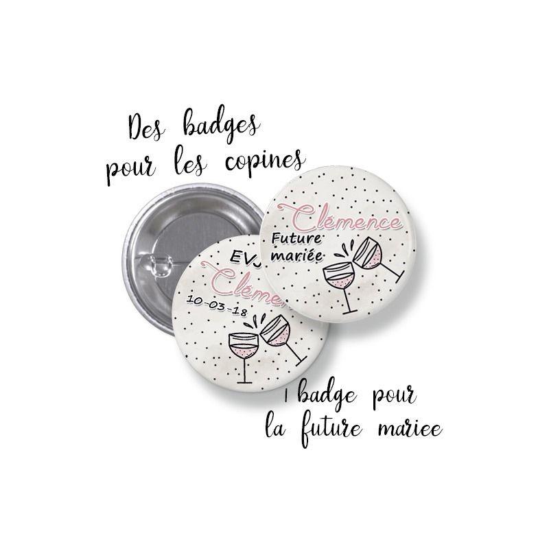 Badges EVJF rond grand format en métal - modèle T'chin !|La chouette mauve|Livraison rapide|Fabrication en France