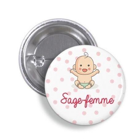 Badge Sage-femme|La chouette mauve|Livraison rapide|Fabrication en France