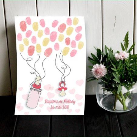 Affiche à empreintes Tétine et biberon pour baptême (rose) La chouette mauve Livraison rapide Fabrication en France