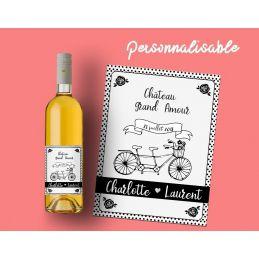 Etiquette bouteille vin ou champagne personnalisable pour...
