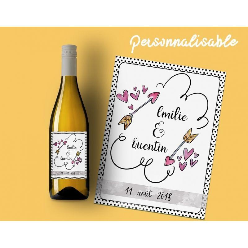 Etiquette Bouteille Vin Ou Champagne Pour Annonce Mariage