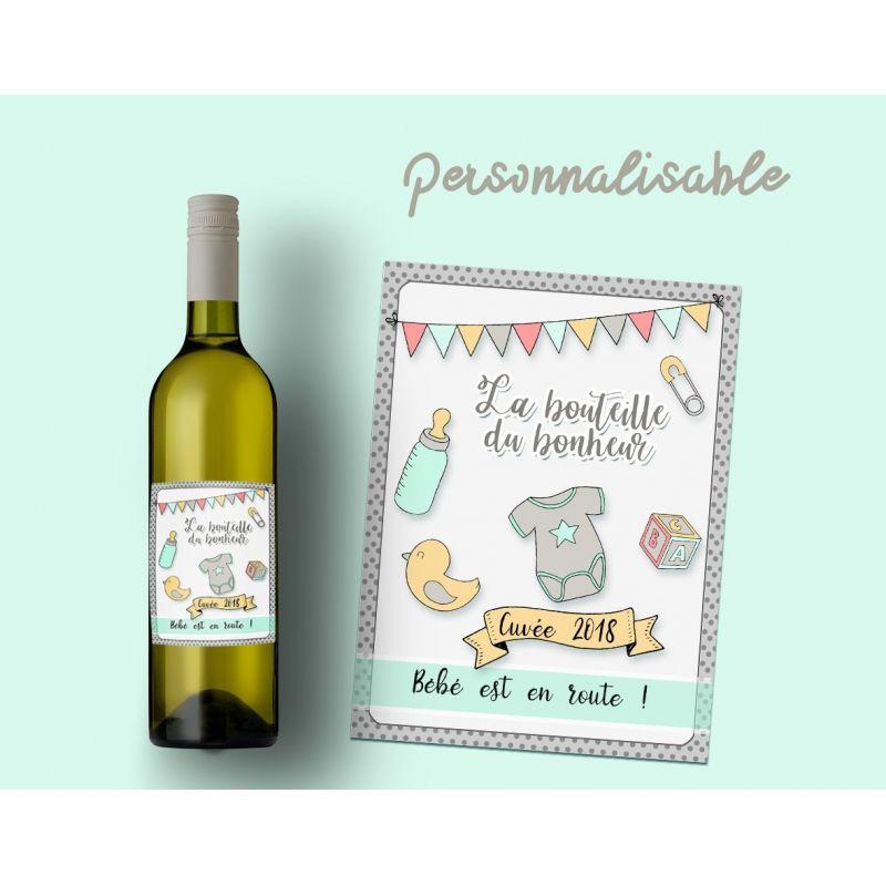 etiquette bouteille vin ou champagne personnalisable pour annonce de grossesse. Black Bedroom Furniture Sets. Home Design Ideas