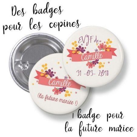 Badges EVJF rond grand format en métal - modèle Camille|La chouette mauve|Livraison rapide|Fabrication en France