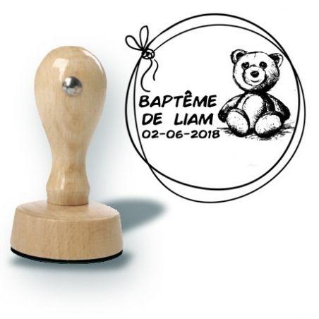 Tampon personnalisé pour baptême - Ourson La chouette mauve Livraison rapide Fabrication en France