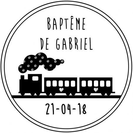 Tampon personnalisé pour baptême -Train La chouette mauve Livraison rapide Fabrication en France