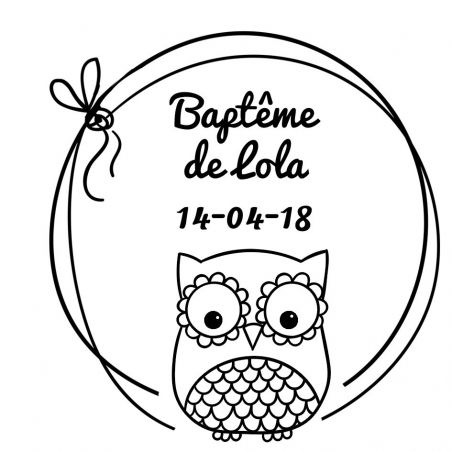 Tampon personnalisé pour baptême - Chouette modèle Lola|La chouette mauve|Livraison rapide|Fabrication en France
