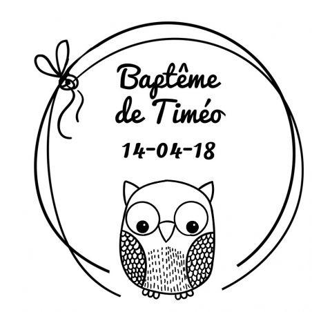 Tampon personnalisé pour baptême - Chouette modèle Timéo La chouette mauve Livraison rapide Fabrication en France