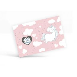 Carte à gratter personnalisable Licorne (rose)