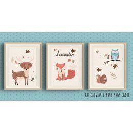3 Affiches à encadrer thème Forêt cerf, renard, chouette...