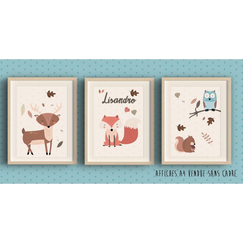 3 affiches encadrer th me for t cerf renard chouette cureuil. Black Bedroom Furniture Sets. Home Design Ideas