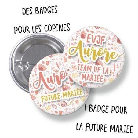 Badges EVJF rond grand format en métal - modèle Aurore La chouette mauve Livraison rapide Fabrication en France