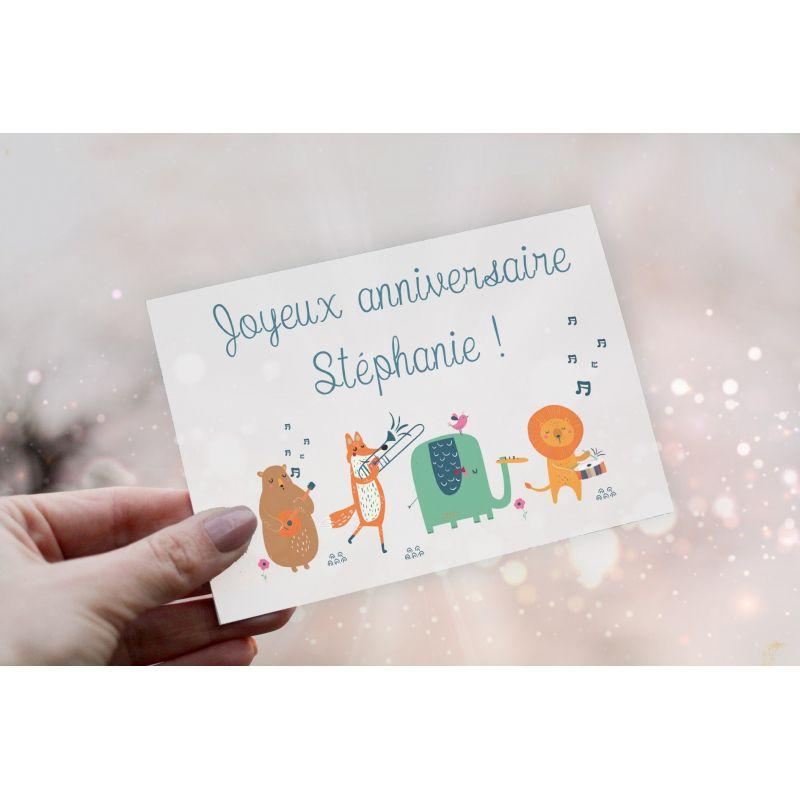 Carte personnalisable Joyeux anniversaire La chouette mauve Livraison rapide Fabrication en France