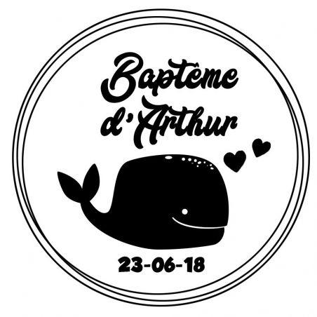 Tampon personnalisé pour baptême - Baleine|La chouette mauve|Livraison rapide|Fabrication en France