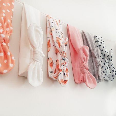 Headband à noeud pour bébé/enfant La chouette mauve Livraison rapide Fabrication en France
