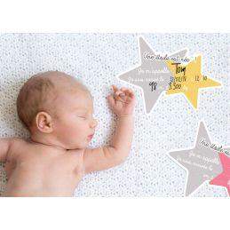 """Carte """"Une étoile est née !"""" pour prendre bébé en photo à..."""