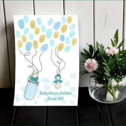 Affiche à empreintes Tétine et biberon pour baby shower...