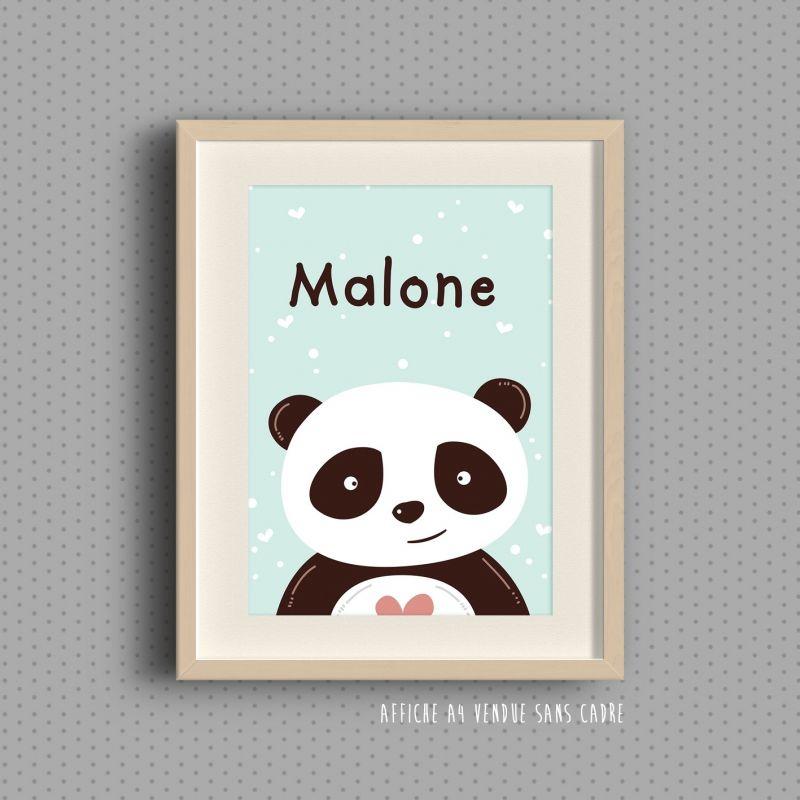 Affiche à encadrer pour chambre d'enfant - Cute panda La chouette mauve Livraison rapide Fabrication en France