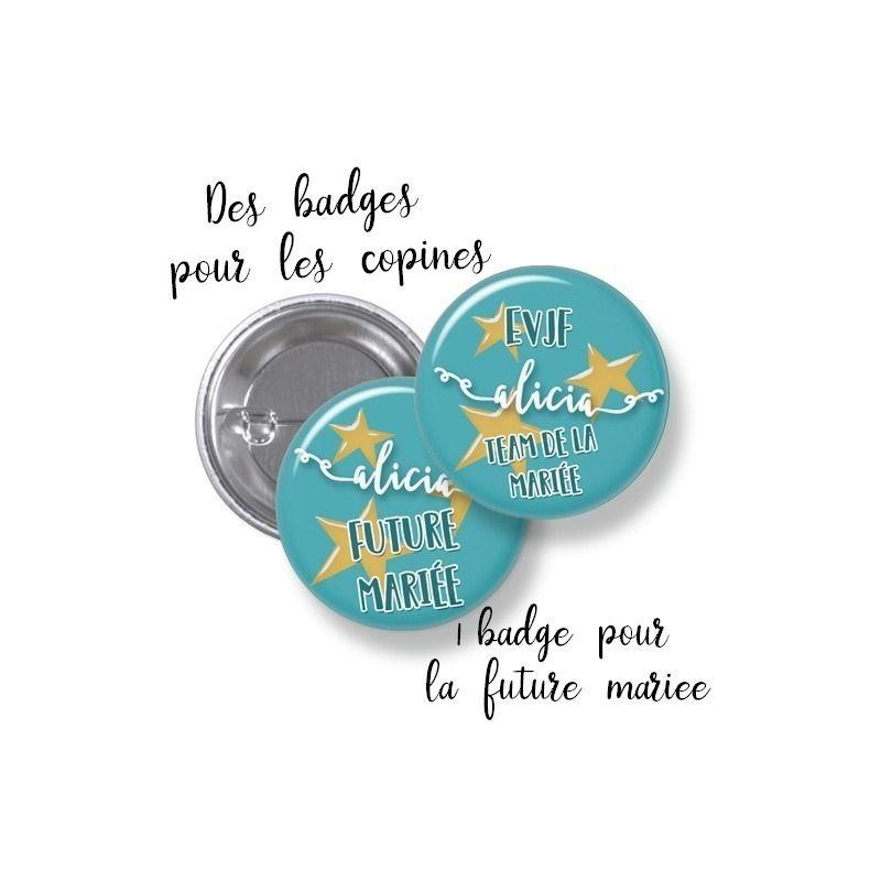 Badges EVJF rond grand format en métal - modèle Alicia|La chouette mauve|Livraison rapide|Fabrication en France