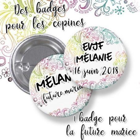 Badges EVJF rond grand format en métal - modèle Mélanie|La chouette mauve|Livraison rapide|Fabrication en France