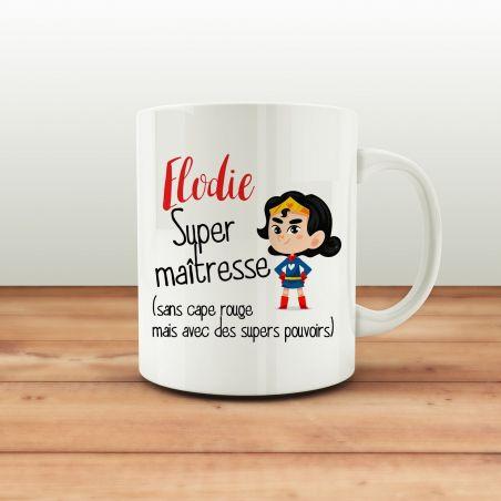 Mug personnalisable Super maitresse|La chouette mauve|Livraison rapide|Fabrication en France