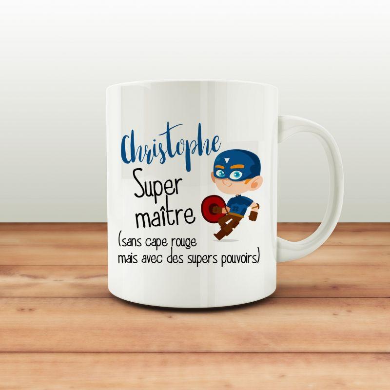 Mug personnalisable Super maitre La chouette mauve Livraison rapide Fabrication en France
