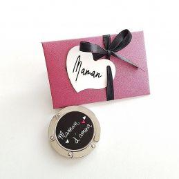 Accroche sac Maman d'amour  (+ pochette cadeau) La chouette mauve Livraison rapide Fabrication en France