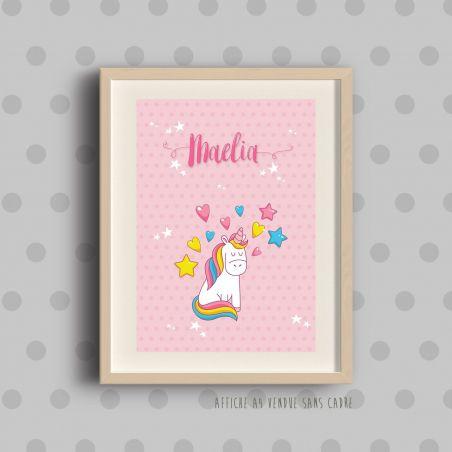 Affiche à encadrer pour chambre d'enfant - Licorne rose|La chouette mauve|Livraison rapide|Fabrication en France
