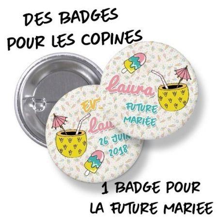 Badges EVJF rond grand format en métal - modèle Summer|La chouette mauve|Livraison rapide|Fabrication en France