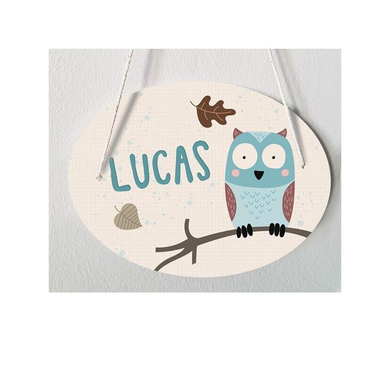 Plaque de porte chambre d'enfant personnalisable - modèle Lucas|La chouette mauve|Livraison rapide|Fabrication en France