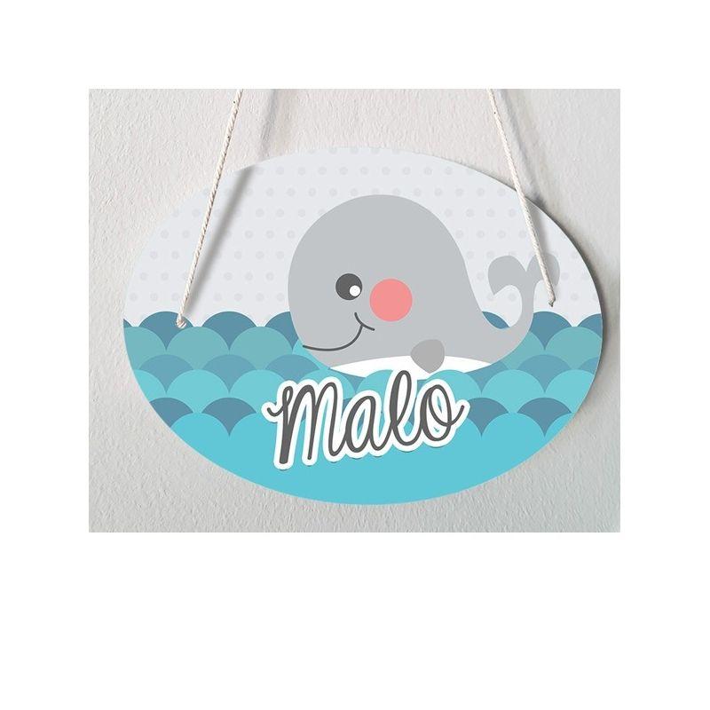 Plaque de porte chambre enfant personnalisable - modèle Malo La chouette mauve Livraison rapide Fabrication en France