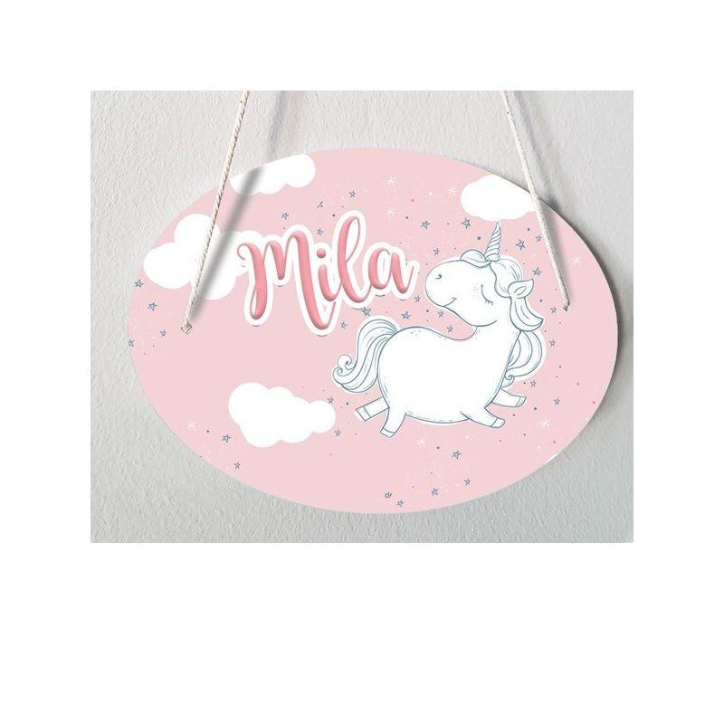 Plaque de porte chambre d'enfant personnalisable - modèle Mila La chouette mauve Livraison rapide Fabrication en France