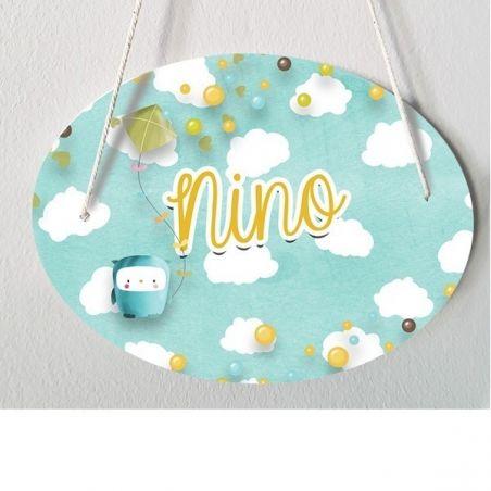 Plaque de porte chambre d'enfant personnalisable - modèle Nino La chouette mauve Livraison rapide Fabrication en France