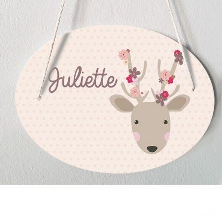 Plaque porte enfant personnalisable - Juliette|La chouette mauve|Livraison rapide|Fabrication en France