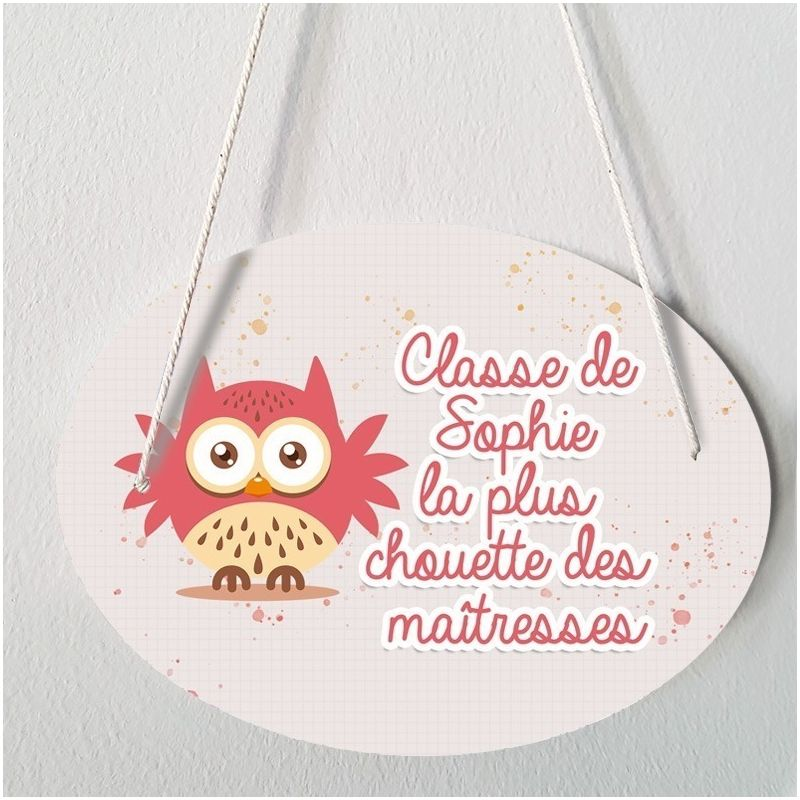 Plaque porte  personnalisable - Chouette rose - salle de classe|La chouette mauve|Livraison rapide|Fabrication en France