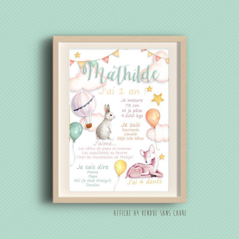 Affiche souvenir de 1 er anniversaire Sweety|La chouette mauve|Livraison rapide|Fabrication en France