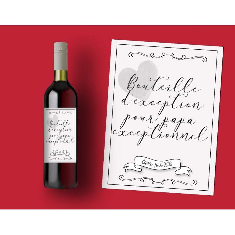 Etiquette bouteille vin pour papa exceptionnel La chouette mauve Livraison rapide Fabrication en France