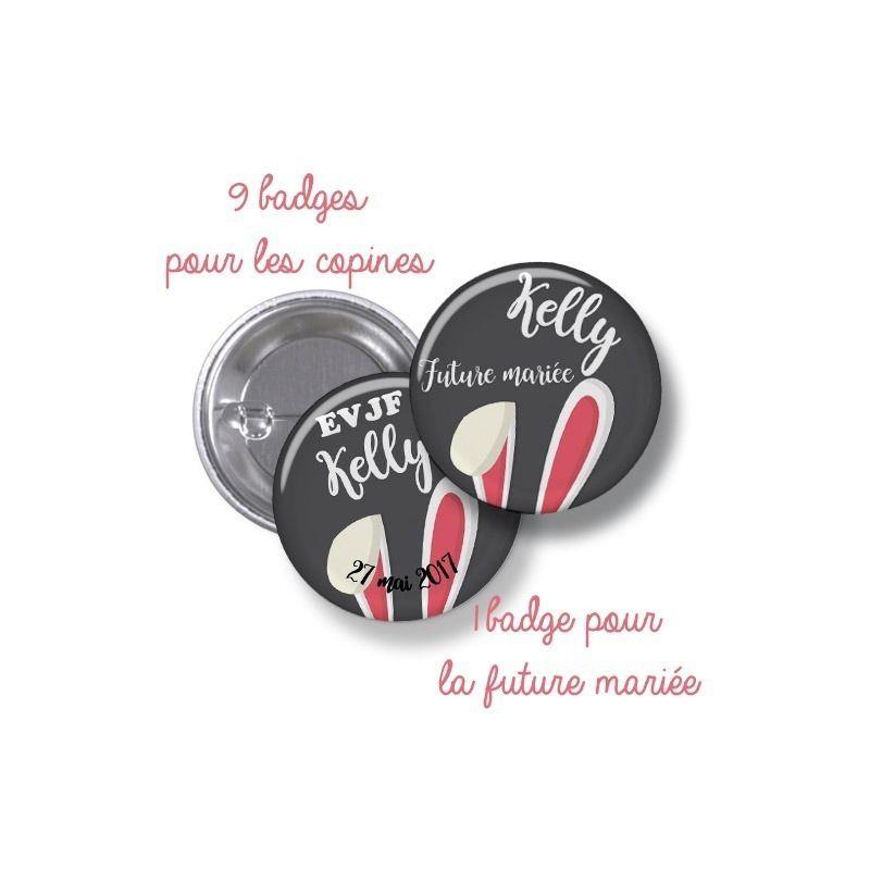 Badges EVJF rond grand format en métal - modèle lapine|La chouette mauve|Livraison rapide|Fabrication en France