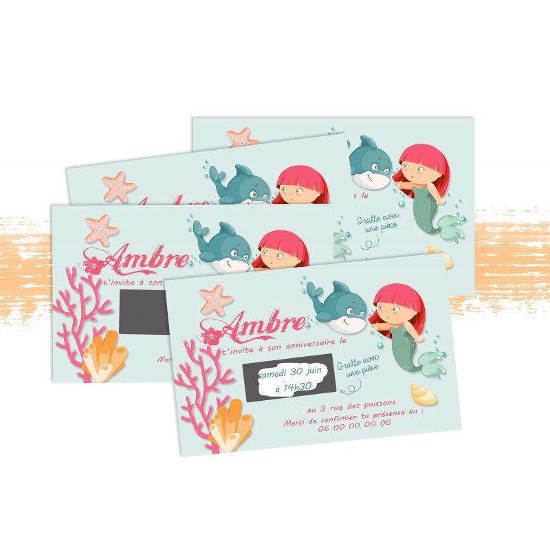 Cartons d'anniversaire personnalisés à gratter Sirène|La chouette mauve|Livraison rapide|Fabrication en France