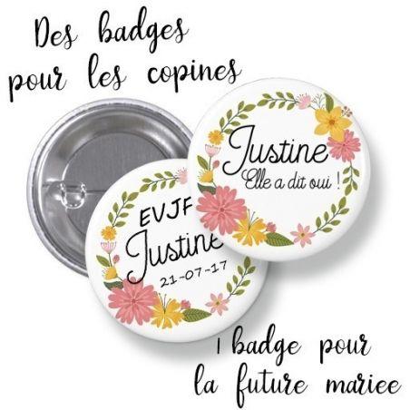 Badges EVJF rond grand format en métal - modèle Justine fleuri La chouette mauve Livraison rapide Fabrication en France