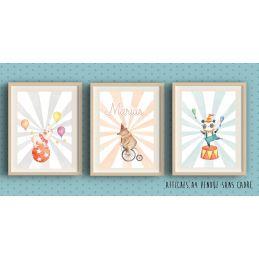 3 Affiches à encadrer thème du cirque